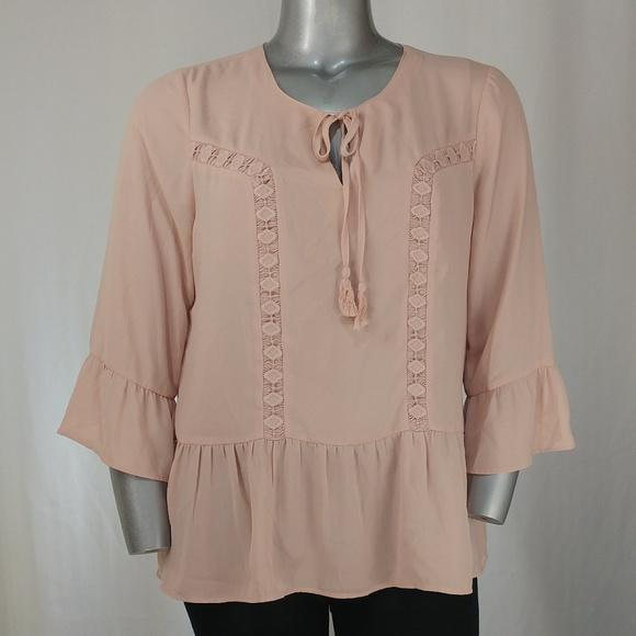 fa2e824a96ea1 Dusty Pink Chiffon Ruffle Lace Tie Front Blouse XL.  M 5a7dd85461ca102195ea8688